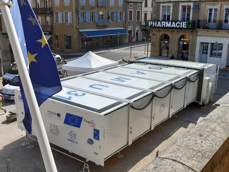 Mobile hospital built as part of EGALURG project installed in Bayonne to strengthen emergency services affected by Covid-19